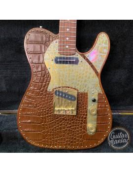 Guitare Paoletti Nancy Leather Top SS Chocolate Brown avec option micro manche Charlie Christian - livrée en étui