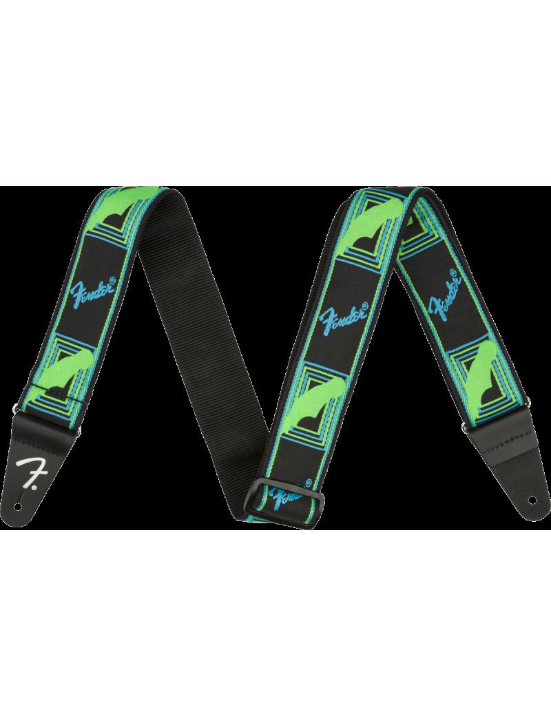 Fender neon monogrammed strap green/blue