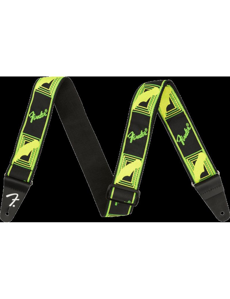 Fender neon monogrammed strap green/yellow