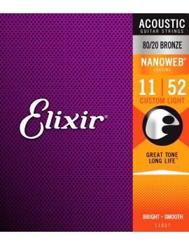 Elixir 11027 Nanoweb cordes acoustiques 80/20 Bronze custom light 11/52
