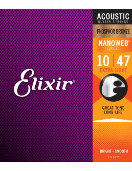Elixir 16002 Nanoweb cordes acoustiques phosphore bronze extra light 10/47