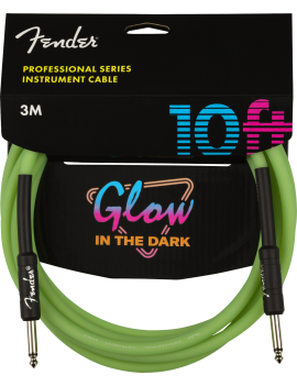Fender cable professional glow in the dark green 3m droit/droit