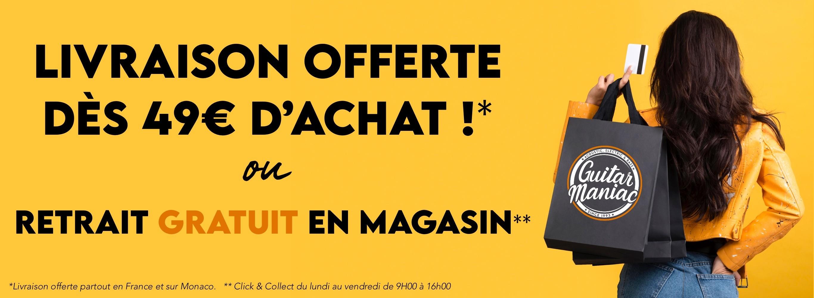 Durant le confinement, retirez gratuitement vos achats en magasin du lundi au vendredi de 9H00 à 16h00 ou alors profitez de la livraison offerte partout en France et sur Monaco à partir de 49€ d'achats.
